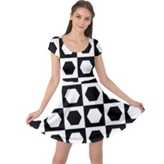 Chessboard Hexagons Squares Cap Sleeve Dress