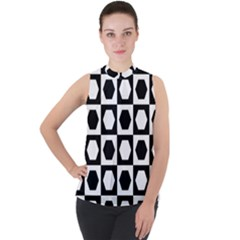 Chessboard Hexagons Squares Mock Neck Chiffon Sleeveless Top