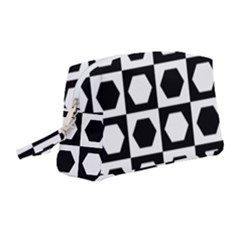 Chessboard Hexagons Squares Wristlet Pouch Bag (medium)