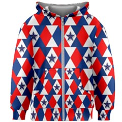 Patriotic Stars Kids  Zipper Hoodie Without Drawstring by AnjaniArt