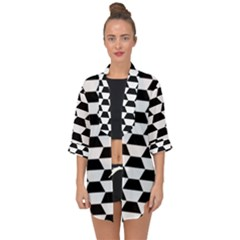 Hexagons Pattern Tessellation Open Front Chiffon Kimono by Mariart