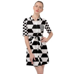 Hexagons Pattern Tessellation Belted Shirt Dress by Mariart