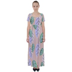 Leaf Pink High Waist Short Sleeve Maxi Dress