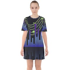 Speakers Music Sound Sixties Short Sleeve Mini Dress