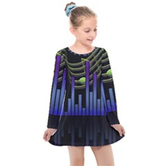 Speakers Music Sound Kids  Long Sleeve Dress