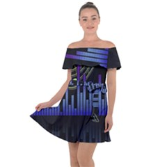 Speakers Music Sound Off Shoulder Velour Dress by HermanTelo