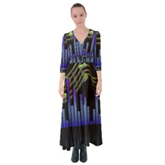 Speakers Music Sound Button Up Maxi Dress