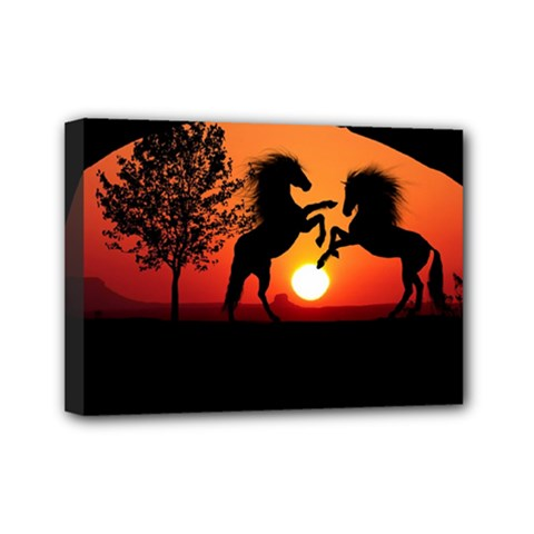 Sunset Horses Shadow Mini Canvas 7  X 5  (stretched)