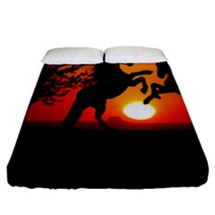 Sunset Horses Shadow Fitted Sheet (queen Size)