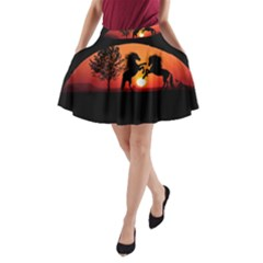 Sunset Horses Shadow A Line Pocket Skirt