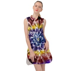 Rainbow Chrysanthemum Sleeveless Shirt Dress