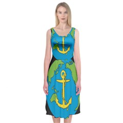 Seal Of Commander Of United States Pacific Fleet Midi Sleeveless Dress by abbeyz71