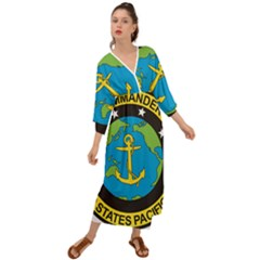 Seal Of Commander Of United States Pacific Fleet Grecian Style  Maxi Dress