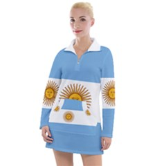 Argentina Flag Women s Long Sleeve Casual Dress by FlagGallery