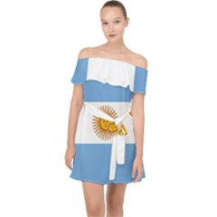 Argentina Flag Off Shoulder Chiffon Dress by FlagGallery