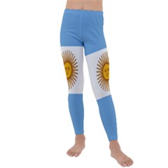 Argentina Flag Kids  Lightweight Velour Leggings by FlagGallery