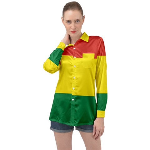 Bolivia Flag Long Sleeve Satin Shirt by FlagGallery