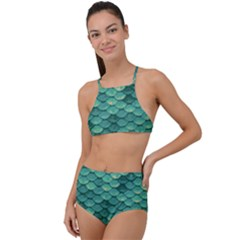 Sea Green Mermaid Scales High Waist Tankini Set by VeataAtticus