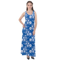 Wallpaper Background Blue Colors Sleeveless Velour Maxi Dress
