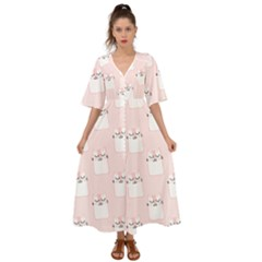 Pattern Pink Cute Sweet Fur Cats Kimono Sleeve Boho Dress
