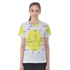 Urban City Skyline Sketch Women s Cotton Tee by Pakrebo