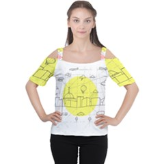 Urban City Skyline Sketch Cutout Shoulder Tee by Pakrebo