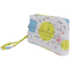 Urban City Skyline Sketch Wristlet Pouch Bag (small)