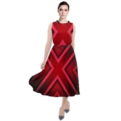 Wallpaper Red Abstract Round Neck Boho Dress