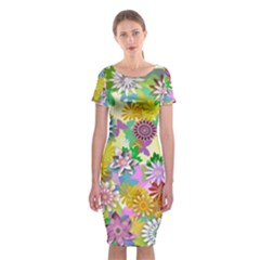 Illustration Pattern Abstract Classic Short Sleeve Midi Dress by Pakrebo