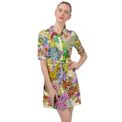 Illustration Pattern Abstract Belted Shirt Dress