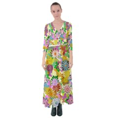 Illustration Pattern Abstract Button Up Maxi Dress