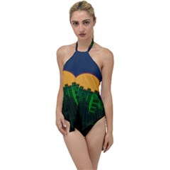 Neon City Retro Grid 80s Go With The Flow One Piece Swimsuit