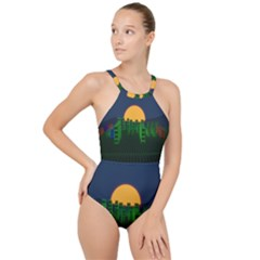 Neon City Retro Grid 80s High Neck One Piece Swimsuit