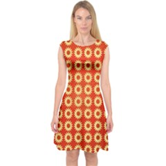 Wallpaper Illustration Pattern Capsleeve Midi Dress by Pakrebo