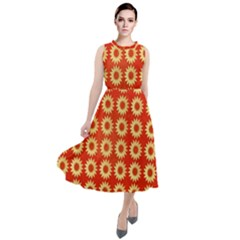 Wallpaper Illustration Pattern Round Neck Boho Dress
