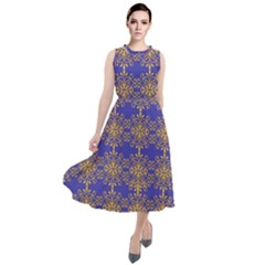 Pattern Wallpaper Ornament Retro Round Neck Boho Dress