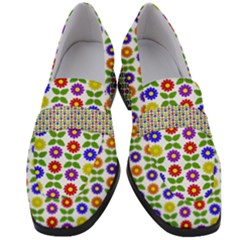 Flowers Colors Colorful Flowering Women s Chunky Heel Loafers