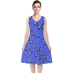 Guitar Instruments Music Rock V Neck Midi Sleeveless Dress