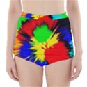 Color Halftone Grid Raster Image High-Waisted Bikini Bottoms View1