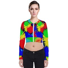 Color Halftone Grid Raster Image Long Sleeve Zip Up Bomber Jacket