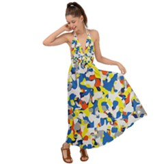 Pop Art Camouflage 2 Backless Maxi Beach Dress by impacteesstreetweareight