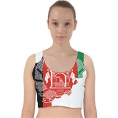 Afghanistan Flag Map Velvet Racer Back Crop Top