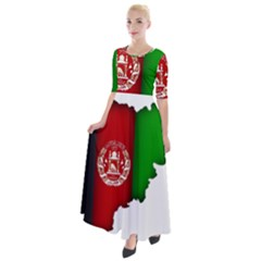 Afganistan Flag Map Half Sleeves Maxi Dress by abbeyz71
