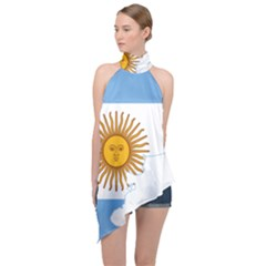 Flag Map Of Argentina & Islas Malvinas Halter Asymmetric Satin Top by abbeyz71