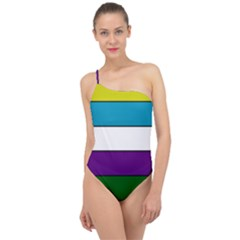 Flag Of Rio Grande, Argentina Classic One Shoulder Swimsuit by abbeyz71
