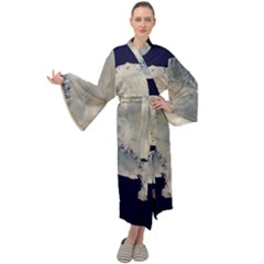 Satellite Image Of Antarctica Maxi Tie Front Velour Kimono by abbeyz71