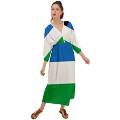 Flag Of Argentine Province Of Río Negro Grecian Style  Maxi Dress