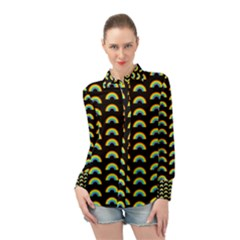 Pride Rainbow Flag Pattern Long Sleeve Chiffon Shirt by Valentinaart