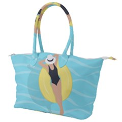 Lady In The Pool Canvas Shoulder Bag by Valentinaart