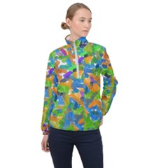 Paint Brushes On A White Background                           Women Half Zip Windbreaker by LalyLauraFLM